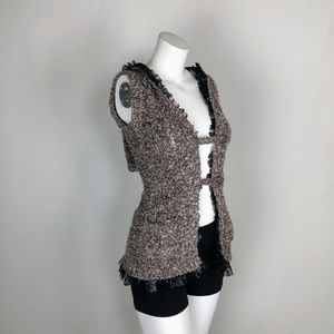 BKE Buckle Marled Lace Trimmed Vest Mocha Hooded